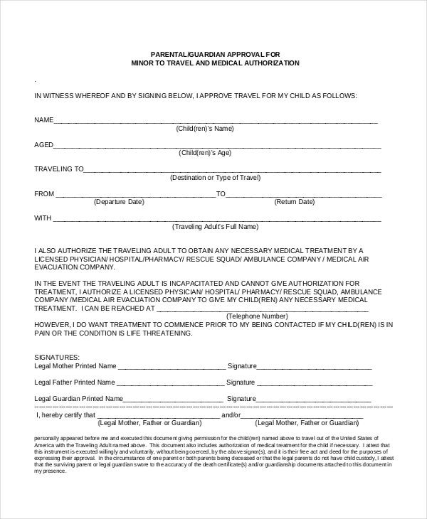 Travel Consent Form For Child