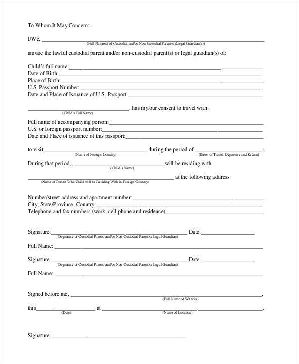 Sample Travel Consent Forms 10 Free Documents in PDF Doc – Travel Consent Form Template