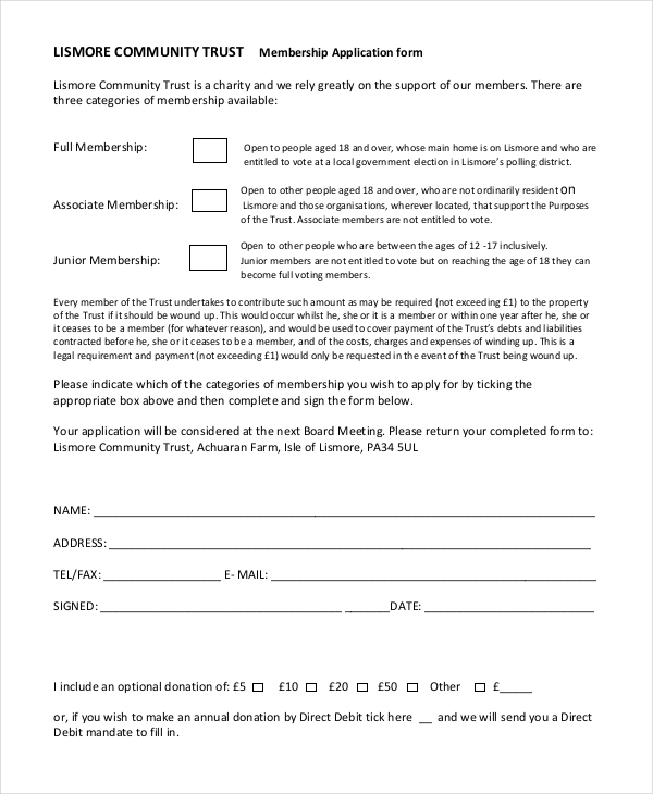 trust membership application form