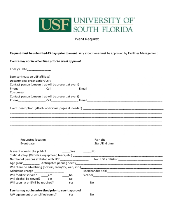 university event request form