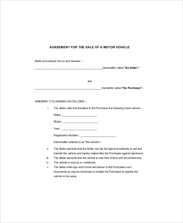 Vehicle Purchase Agreement Form