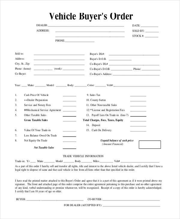 vehicle purchase order form