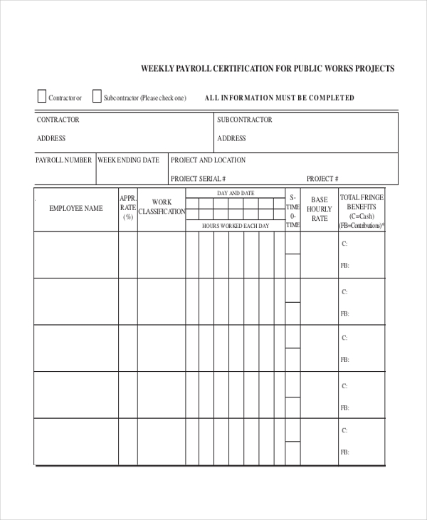 Sample Certified Payroll Form - 7+ Free Documents In Pdf