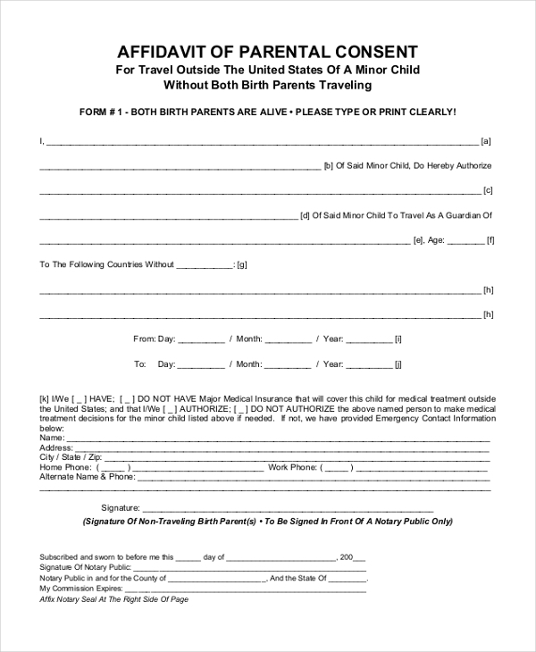 Sample Affidavit Of Parental Consent Form
