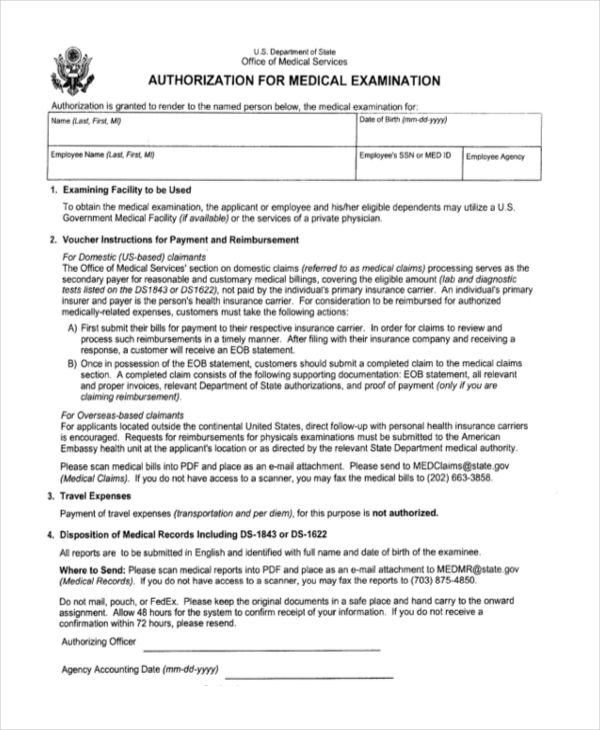 authorization for medical examination