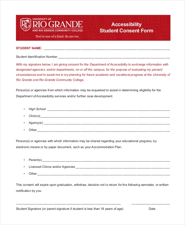 accessibility student consent form