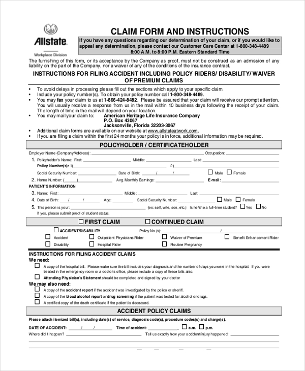 accident claim form
