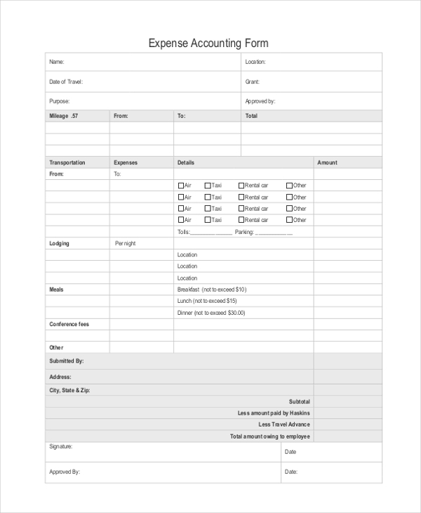 accounting expense form