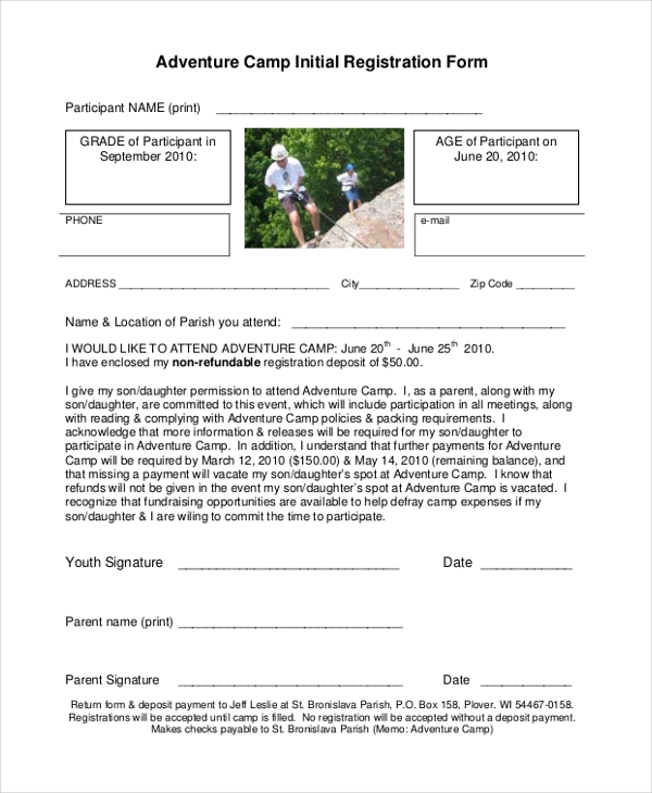 adventure camp initial registration form