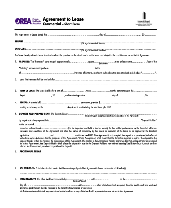Sample Agreement To Lease Commercial Form
