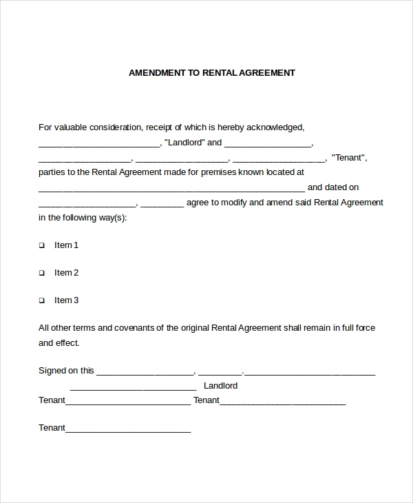 amendment to rental agreement