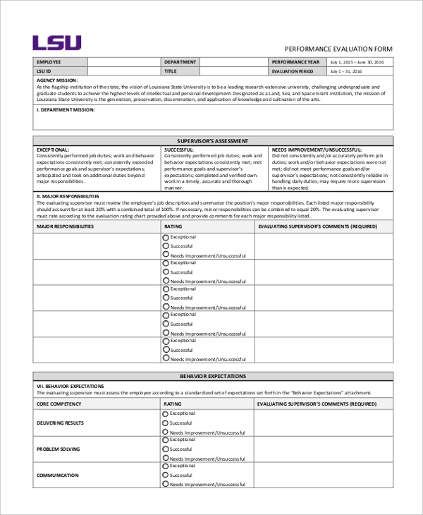 annual employee permance evaluation form