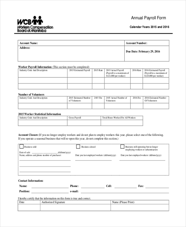 Annual Payroll Form  Payroll Forms Free