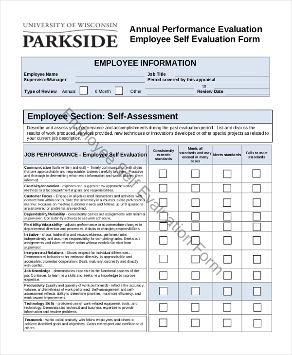 Sample Employee Self Evaluation Form 10 Free Documents in Word PDF – Sample Employee Evaluation Forms