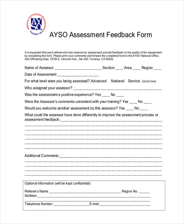 assessment feedback form