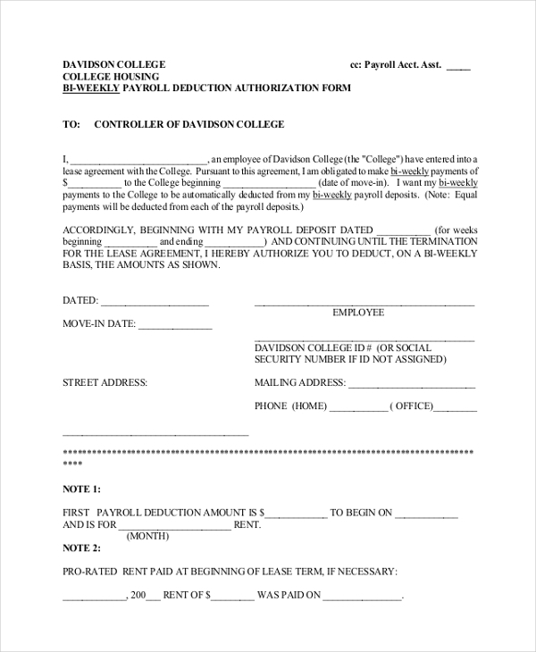 bi weekly payroll deduction authorization form