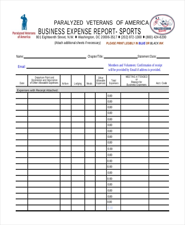Sample Expense Report Business Expense Report Sports Sample