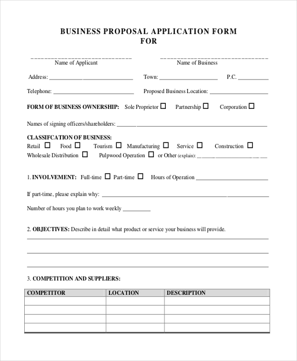 Sample Business Proposal Forms - 11+ Free Documents Invword, Pdf