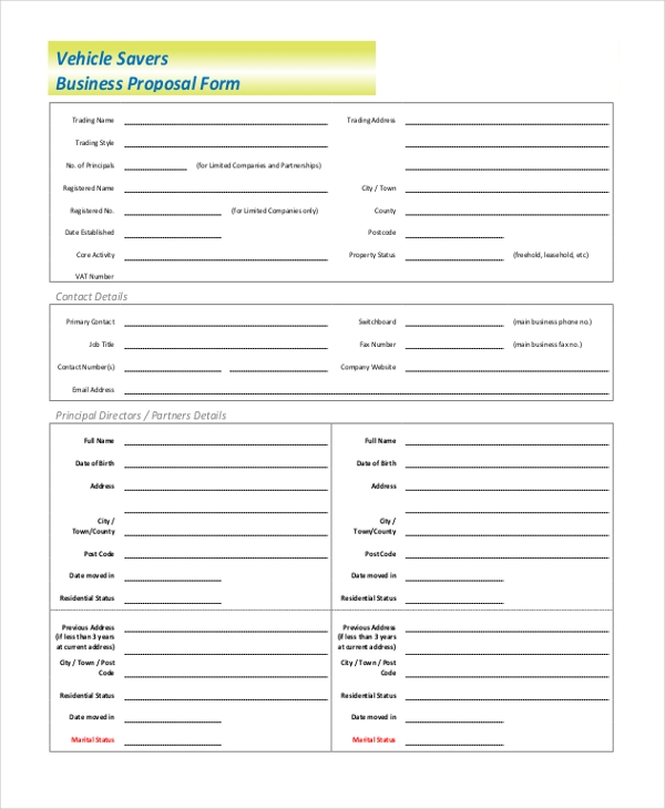 """business user proposal form"""""""