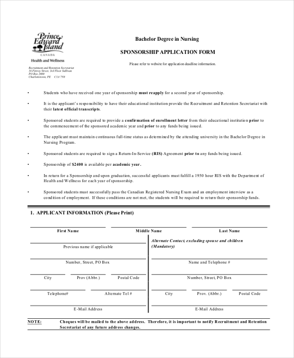 Sample Sponsorship Application Form - 11+ Free Documents In Pdf