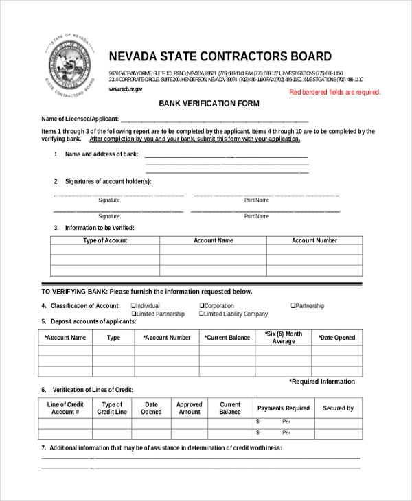 Sample Verification Forms   Free Documents In Pdf