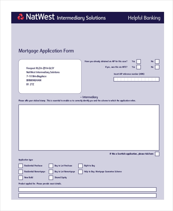 banking mortgage application form