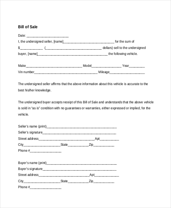 Sample Bill of Sale Forms 22 Free Documents in Word PDF – Basic Bill of Sale Template