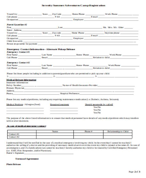 basic camp registration form