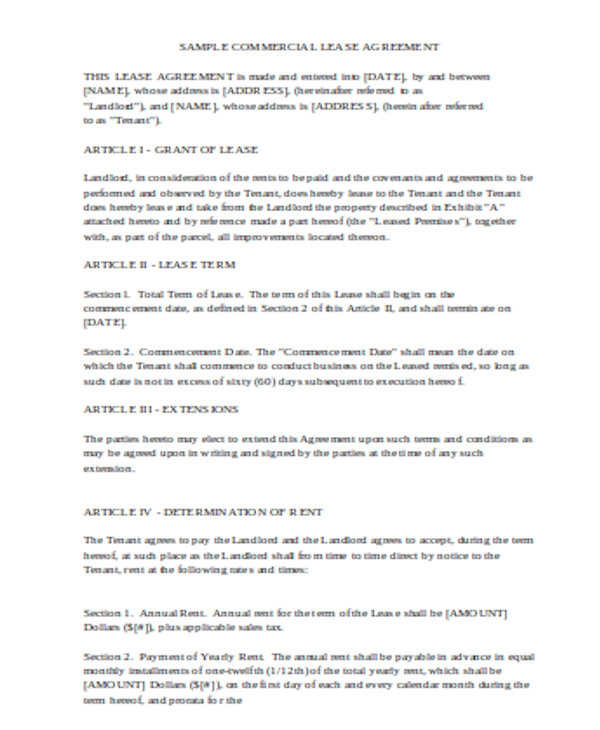 basic commercial lease agreement form