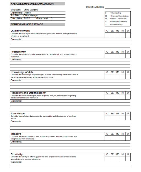 basic job performance evaluation form