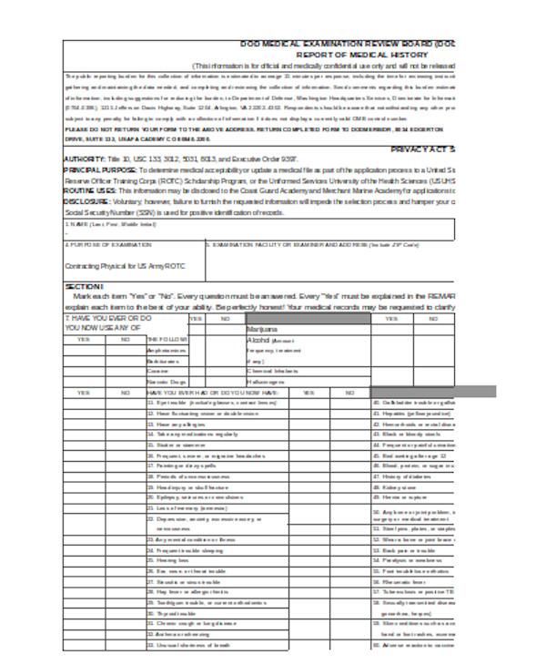 basic medical examination form