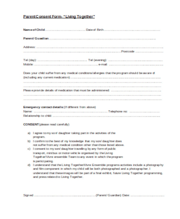 basic parental consent form