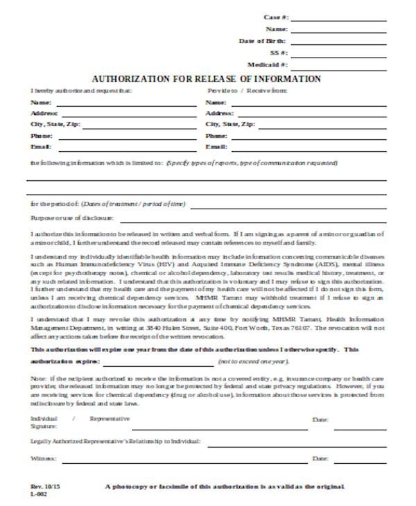basic release of information form