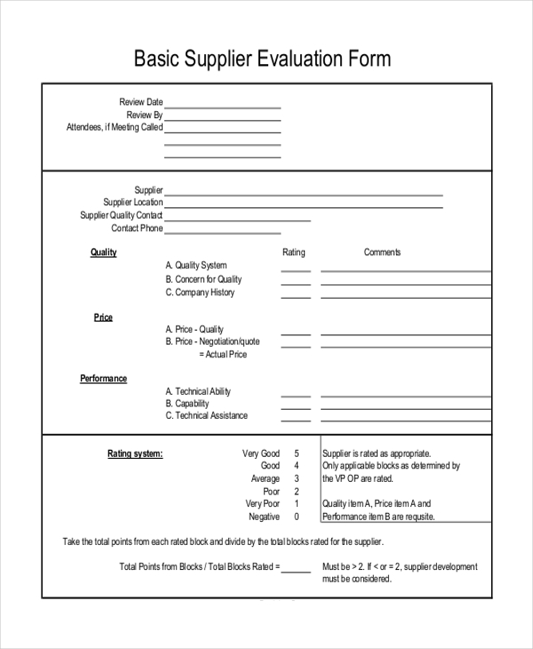 Vendor Evaluation Form | Sample Supplier Evaluation Form 10 Free Documents In Word Pdf