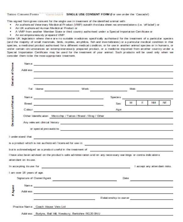 basic tattoo consent form