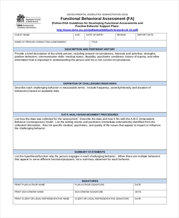 behavior assessment form