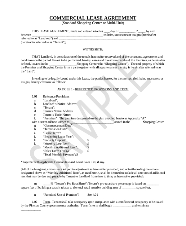 Sample Commercial Lease Agreement Form 8 Free Documents in PDF – Sample Commercial Security Agreement Template
