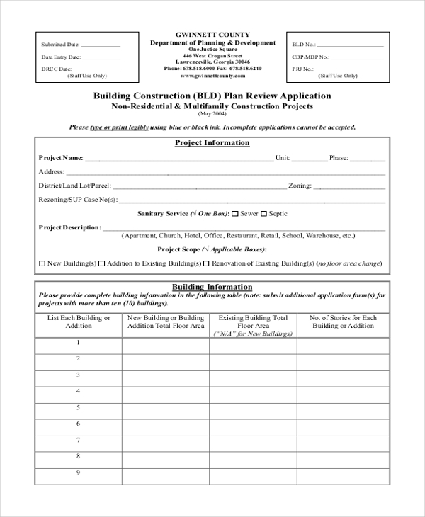 building construction form