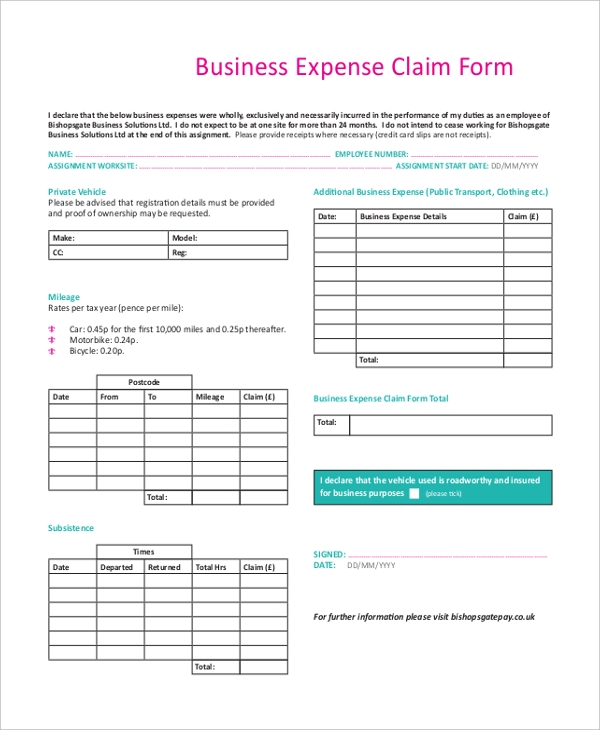 Sample Business Expense Report Form   Free Documents In Pdf