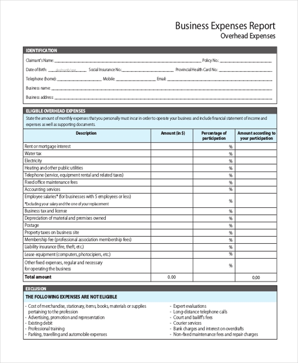 Sample Business Expense Report Form - 8+ Free Documents In Pdf