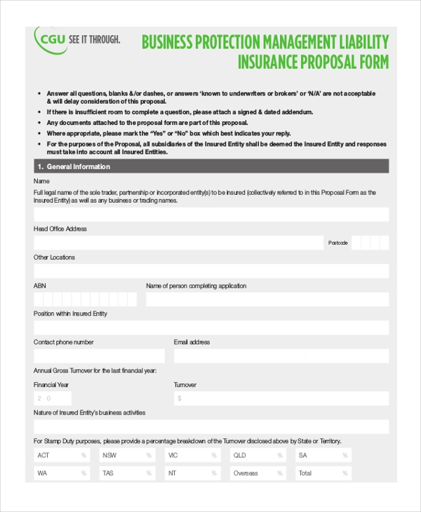 business protection insurance proposal form
