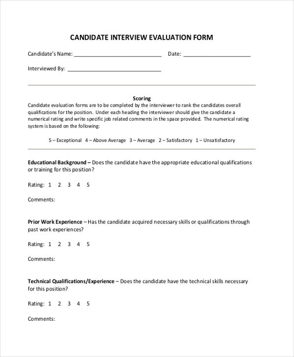 Sample Interview Evaluation Form   Free Documents In Word Pdf