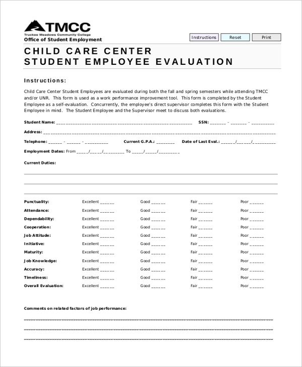 Sample Employee Evaluation Form - 10+ Free Documents In Word, Pdf