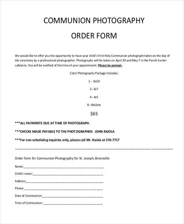 communion photography order form