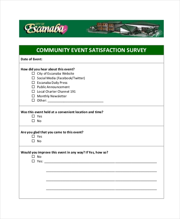 free 10  sample event survey forms in pdf
