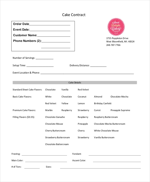 cake contract order form