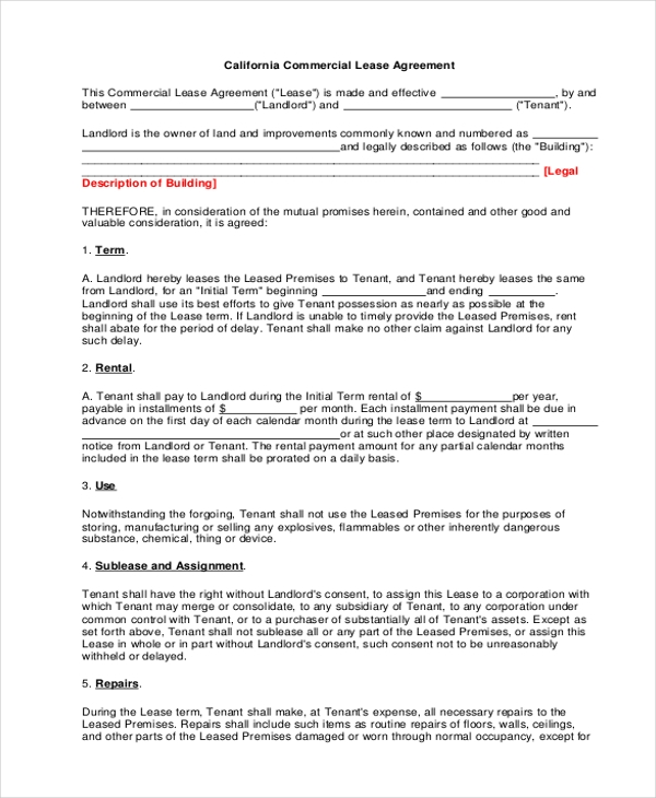 Sample Commercial Lease Agreement Form   Free Documents In Pdf