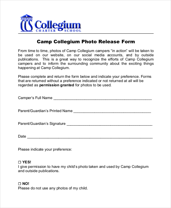 camp collegium photo release form