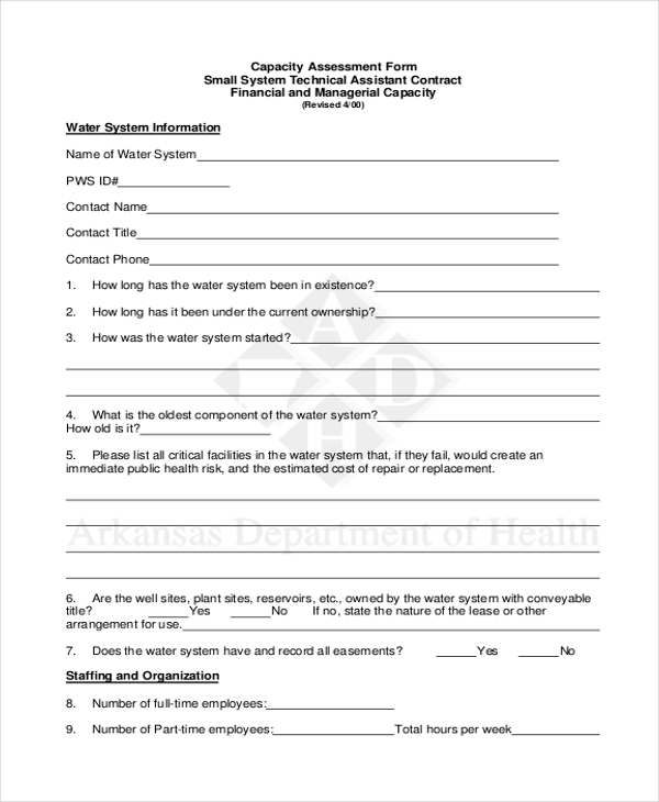 Capacity Assessment Form