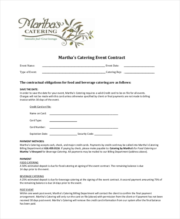 Catering Contract Catering Contract Template Catering Contract